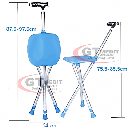 GT MEDIT GERMANY Adjustable Height Tripod Seat Cane Chair Foldable Crutch Walking Aid Mobility Stick Torch Light Tongkat