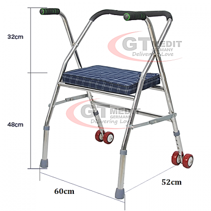 GT MEDIT GERMANY Adjustable Height Quad Cane Walker Crutch Aid Mobility Stick Wheelchair Wheel Chair + Seat / Tongkat