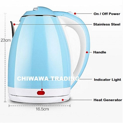READY STOCK 2L Stainless Steel Electric Kettle Automatic Cut Off Jug Teapot / Cerek