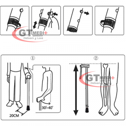 GT MEDIT GERMANY 6 Point Adjustable Height Flexible Cane Walker Crutch Walking Aid Mobility Stick / Tongkat